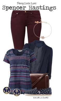 """""""Spencer Hastings"""" by charlizard ❤ liked on Polyvore featuring 7 For All Mankind, Monsoon, O.S.P Osprey, Fat Face, TOMS, Kate Spade, Brooks Brothers, PrettyLittleLiars, pll and TV"""