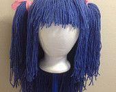 Handmade Crochet yarn Hair wig,women, baby, kids, blue hair, wig, blue wig, yarn hair, yarn wig, Halloween wig costume