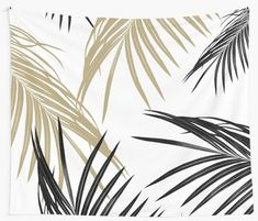 """Gold Black Palm Leaves Dream #1 #tropical #decor #art"" Wall Tapestries by anitabellajantz 