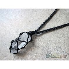 Black Raw Crystal Hemp Necklace ❤ liked on Polyvore featuring jewelry, necklaces, hemp jewelry, cord necklace, braid jewelry, clear crystal necklace and crystal stone jewelry