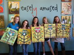 owl painting for the classroom- I think I'm going to go to Hobby Lobby and try to make one of these!! :)