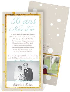 carte invitation anniversaire mariage noces d 39 or photo grsc 57 rc1 carte pinterest. Black Bedroom Furniture Sets. Home Design Ideas