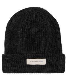 5ea9a02e402 Calvin Klein Jeans Men s Knit Beanie - Black Mens Knit Beanie