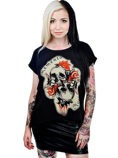 "Women's ""Momento Mori"" Lana Tee by Too Fast (Black) #InkedShop #graphictee #skulls #womenswear #womens"