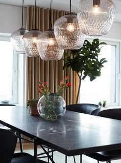 The Carlsberg City - Bohrs Tower - Picture gallery Dining Table Chandelier, Dining Room Table, Scandinavian Apartment, Scandinavian Style, Living Spaces, Living Room, Modern, Ceiling Lights, Design