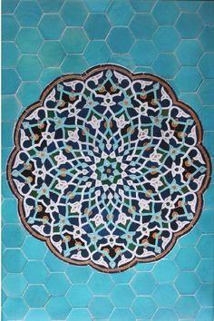 Arabesque tile mosaic at the Jāmeh Mosque of Yazd, Iran, c; Islamic Art Pattern, Arabic Pattern, Pattern Art, Persian Pattern, Moroccan Pattern, Doodle Inspiration, Islamic Architecture, Art And Architecture, Beautiful Architecture