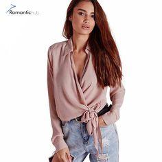 Sexy Women Shirt Unique Vest Brand Blouse Sexy Deep V Neck Short Shirt 2017 Spring New Long Sleeve Solid Elegant Chiffon Top Bow