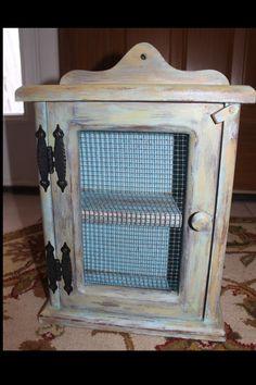 primitive distressed cabinet with wire door
