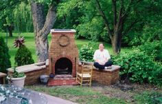 Build an Outdoor Fireplace, this  woman never used Mortar and Bricks before this! Look what she did!!
