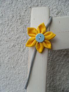 Haarband Haargummi Blume gelb hellblau grau Blüte von Krimskrämerei auf DaWanda.com