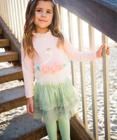 Look what I found on #zulily! Pink Swan Top & Green Skirted Leggings - Toddler & Girls #zulilyfinds