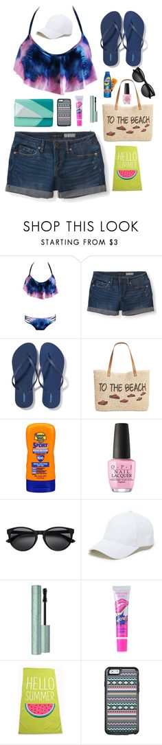 """Beach Day"" by ilovewriting22 on Polyvore featuring Aéropostale, Old Navy, Style & Co., Banana Boat, Coppertone, OPI, Sole Society, OtterBox and Mundi"