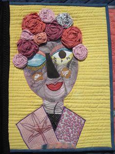 Art Textile, Textile Artists, France Patchwork, Portraits, Bubble Quilt, Self Portrait Art, Collage Background, Funky Art, Sewing Art