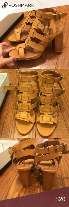 Tan sandals Tan scrappy heeled sandals Qupid Shoes Ankle Boots & Booties