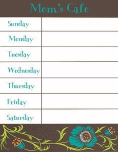 Therapeutic Crafting: Weekly Menu Printable