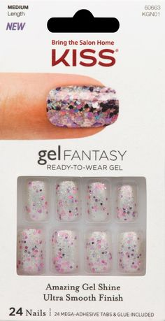 Kiss Gel Fantasy Nail Fanciful 24 Ct, Multi Color