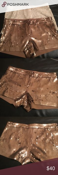 Gold Sequin Hot-Shorts, Spandex &Cotton Smokin HOT!! Gold  Sequin Spandex Short  by Express.. Express Shorts