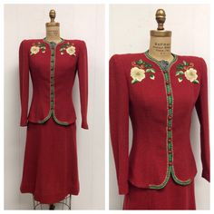 1940s Embroidered Knit Suit 40s Jacket Skirt by LostnFoundVintage, $250.00