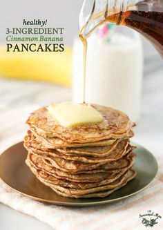 In search of healthy breakfast ideas? These 3-Ingredient Healthy Banana Pancakes -- are the perfect easy breakfast and your kids will love them!