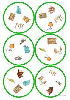 Spiele im Deutschunterricht: Dobble - Möbel (13 Karten / 4 Symbole) English Games, Founding Fathers, Kids Education, Toddler Activities, Free Printables, Kindergarten, Teaching, Board, Games