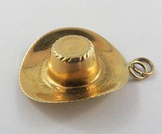 16828e5763b Cowboy Hat 18K Gold Vintage Charm For Bracelet