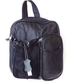 This Brown Leather Cross body Backpack featuring: - 100% leather - Water bottle holder - Cell phone holder - 2 large zippered pocket - Adjustable shoulder strap & handle 1 front and 1 back pocket Size