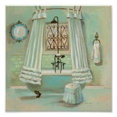 Vintage Bathroom Posters | Zazzle