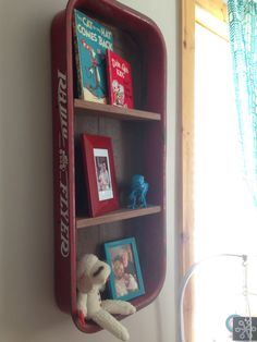 Design Tip: Use something unexpected for wall art in the nursery! We love this Radio Flyer wagon repurposed for a wall shelf. #nursery