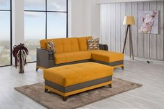 Almira Sectional Sofa and Ottoman in Riva Orange by Casamode