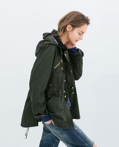 Image 3 of OILED COTTON PARKA from Zara