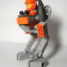 A walker robot with space minifig from Galaxy Squad
