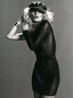 kate moss Kate Moss  – kate moss, leather, black and white, hat, dress, by Inez & Vinoodh for Vogue Paris