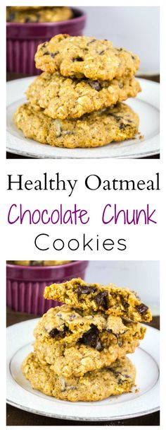 Healthy Oatmeal Chocolate Chunk Cookies - Build Your Bite