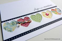 A fun way to use paper scraps and little bits of craft pieces along with the negative space from your die cuts - used for this handmade birthday card.