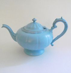 shabby chic teapot - tiffany blue antiqued teapot - shabby chic decor. $32.00, via Etsy.