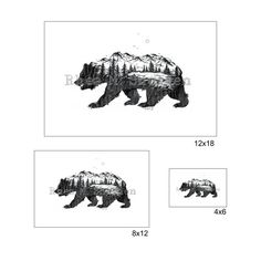 Bear Mountain Art Print: Nature, Grizzly Bear, Morphed Animal, Drawing, Art,