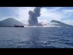 Now you can watch it happen in this incredible footage captured from a passenger boat. | Look At This Volcano Erupt And Send Out A Huge Shockwave