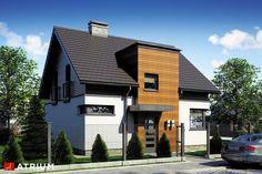 Projekt domu z poddaszem POLO - wizualizacja 3 Minimal House Design, Simple House Design, Minimal Home, Home Building Design, Building A House, Design Case, Atrium, Home Fashion, Bungalow