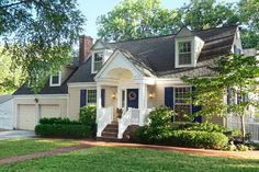 I would love to add a portico to my Cape Cod Home exactly like this - so lovely. A Curb appeal boost on budget cape cod style home entry with gabled portico, concrete stoop in red brick. Estilo Cape Cod, Cape Cod Exterior, Yellow House Exterior, Cape Cod Style House, Cape Style Homes, Yellow Houses, Front Yard Landscaping, Landscaping Ideas, Exterior Remodel