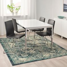 VONSBÄK Rug, low pile, green, Length: 7 ' The oriental-vintage expression has the charm of looking worn and adds a special character to the room. The pile is very low and works just as well by the sofa as under the dining table. Japanese Dining Table, Dining Room Walls, Living Room, Sitting Room Decor, Professional Carpet Cleaning, Types Of Flooring, Traditional Furniture, How To Clean Carpet, Oriental Rug
