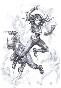X-23 and Wolverine by Mike Choi for WOW 2012, in Fred Bronaugh's Framed work Comic Art Gallery Room