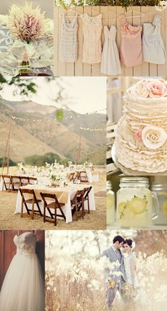 Beautiful and soft rustic chic wedding inspiration board! Mismatched bridesmaids dresses, ruffles, lace, and lemonade in mason jars :)