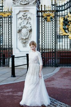 See evening and wedding gowns with sleeves on our blog | Follow Mode-sty for stylish modest clothing #nolayering