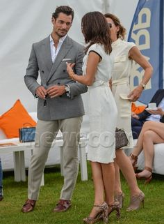 David Gandy with Stephanie Mendoros and guest Jaeger-LeCoultre Gold Cup British Open Polo Championships, Cowdray Park Polo Club, Easebourne, UK - 17 Jul 2016