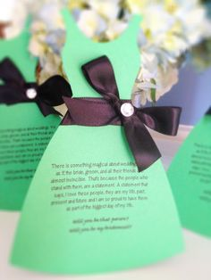 Will you be my bridesmaid cards, wedding party cards, wedding party invite cards, dress cut out cards. $3.00, via Etsy.