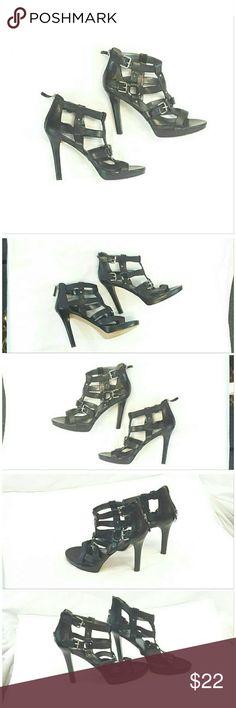 """NINE WEST Black Cage Platform Heels size 9 1/2 NINE WEST, Black Cage Platform Heels, size 9 1/2, 3 silvertone buckles, 5 silvertone studs, 2 silvertone O-rings, 3"""" zipper at back of heel, 4 1/2"""" heel, 3/4"""" toe platform, leather upper, man made balance. ADD TO A BUNDLE! 20% BUNDLE DISCOUNT Nine West Shoes Heels"""