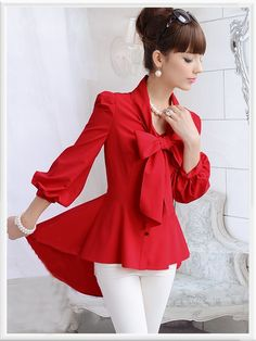 Morpheus Boutique  - Red Bow 3/4 Sleeve Ruffle Pleated Button Down Shirt