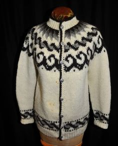 VTG Hilda LTD Sweater Iceland Large 100% Wool Handknit Ski Wear Nordic Authentic #HildaLTD Vintage Style Outfits, Vintage Fashion, Icelandic Sweaters, Ski Wear, Hand Knitting, Online Price, The 100, Men Sweater, Wool