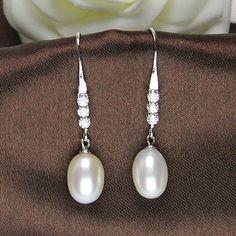 pearl drop earrings,drop pearl earings,pearl dangle earrings,bridal pearl earings, wedding jewelry pearl earring,pearl and crystal earrings on Etsy, US$28.00