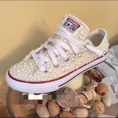 Custom Pearl Converse 9/10 Condition. Comes with a few extra pearls. Lower through 0Paypal . Feel free to Ask Questions :) Converse Shoes Sneakers